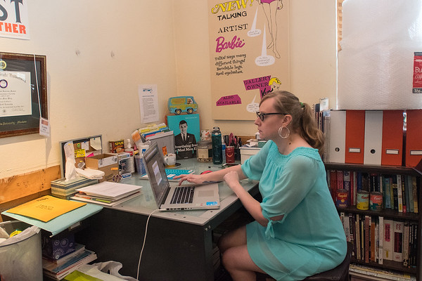 Amanda Wirig works in her office at the Twin Rivers Arts Council building. Wirig has worked for TRAC for four and a half years and currently works as the marketing and programming coordinator. Photo by Jackson Forderer