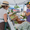 "Dan Zimmerli (right) with Cedar Crate Farms talks to customer Lorrie Torbenson at the Mankato Farmer's Market held at the Best Buy parking lot. ""The list of things we don't grow is shorter than what we do grow,"" said Zimmerli."
