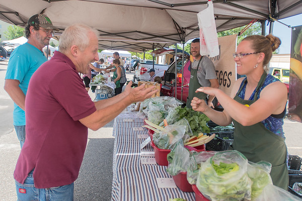 Jean Braatz (right) with My Minnesota Farmer signs with customer Richard Kopachek at the Mankato Farmer's Market. It is the eighth year that My Minnesota Farmer has been coming to the market.