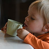 Lane Sorensen, 2, looks into his cup of tea at Curiosi-Tea House. His parents would give him small samples as they themselves tried the five different teas available for $5 at the tea shop.