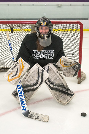 Katie Paulson, former goalie for Mankato East, began playing goalie at age 10 and has been a goalie ever since. Photo by Jackson Forderer