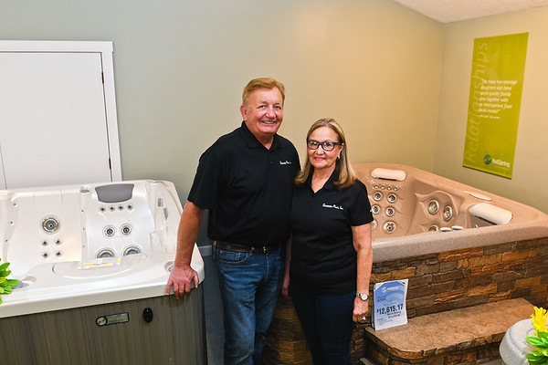 Richard and Sandy Sawatzsky, owners of Sawatzsky Pools and Spas, in their showroom. Photo by Jackson Forderer