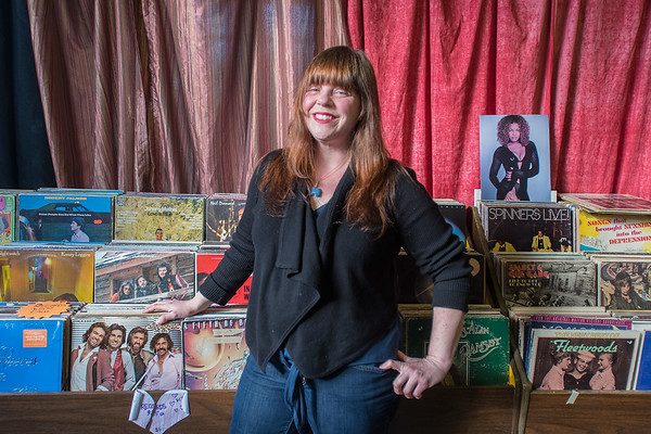 Esther Marcella Hoffman in the record section at Vagabond Village. Photo by Jackson Forderer