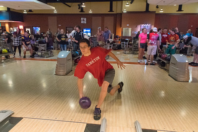 Henry Borgstrom throws his bowling ball down the lane at the Wow! Zone. Borgrstrom and others were part of a Minnesota State University fundraiser held at the Wow! Zone. Photo by Jackson Forderer