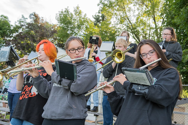 The Waterville-Elysian-Morristown pep band plays before the start of a football game in September.