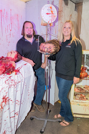 Eric Weiss (left) and Jen Nielsen in the hospital themed room at Norther Frights. Nielsen said around 4,500 came to the haunted attraction last year.