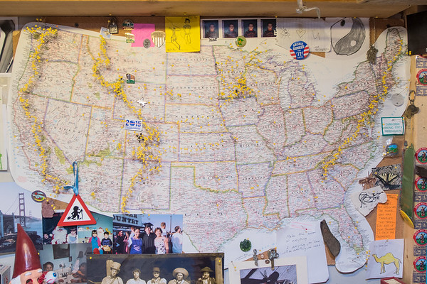 One of Peter's most prized possessions, he said, is a map of America with pins showing where he has been. He has hiked the Appalachian Trail, the Continental Divide Trail and the Pacific Crest Trail, totaling nearly 8,000 miles. Photo by Jackson Forderer
