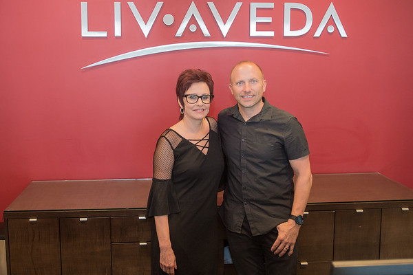 Tami Tupy and Tim Tupy behind the front counter at Liv Aveda Salon and Spa. Tami has owned the salon for the past 16 years, and Tim is the co-founder of Mankato Brewery. Photo by Jackson Forderer