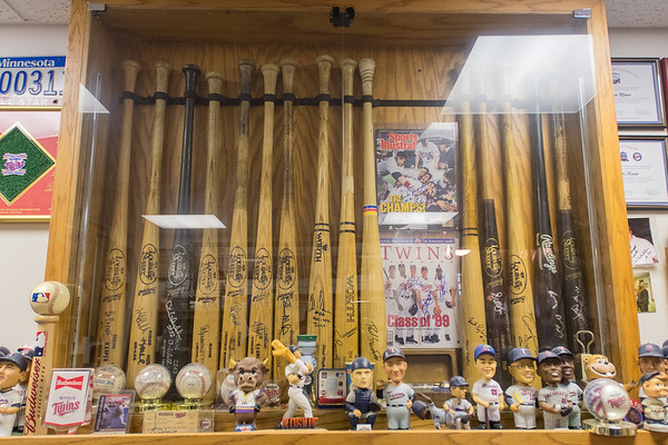 In addition to his large collection of Hamm's Beer collectibles, Steve Miner also has Minnesota Twins memorabilia, with an entire collection of bats signed by the World Series winning teams of 1987 and 1991. Photo by Jackson Forderer