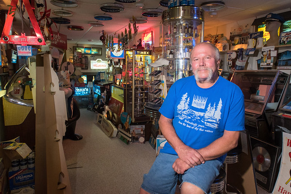 Steve Miner of Winnebago, Minn. in his room of Hamm's Beer collectibles. Miner said he began collecting Hamm's Beer items in the early 70s. Photo by Jackson Forderer