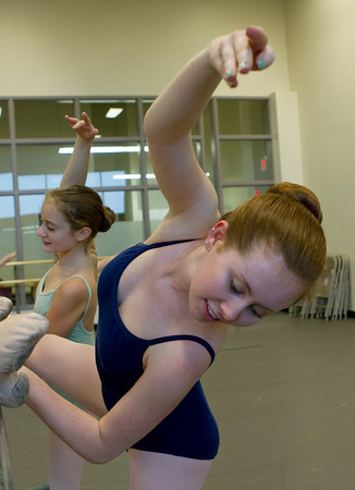 Julianna Mooney, 17, of Beverly, during dance class at the Boston Ballet School. David Le/Staff Photo