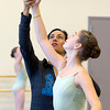 Evelyn Cisneros-Legate, left, instructs Sofia Camelo, 12, of Salem, during class. Camelo will be playing a Soldier Girl in the Boston Ballet's The Nutcracker this winter. David Le/Staff Photo