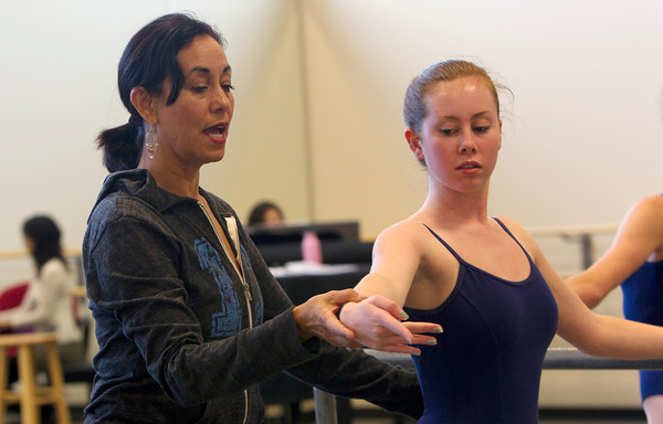 Julianna Mooney, 17, of Beverly, is instructed by Evelyn Cisneros-Legate, during class. David Le/Staff Photo David Le/Staff Photo