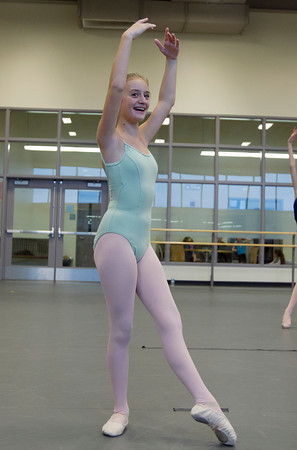Emma Grazado, 12, of Marblehead, during dance class at the Boston Ballet School. David Le/Staff Photo