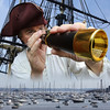 Pirate John Quelch over Marblehead Harbor.<br /> Photo illustration by Ken Yuszkus.<br /> Pirate John Quelch is portrayed by Tim Canady of the New England Pirate Museum in Salem.<br />   8/7/15
