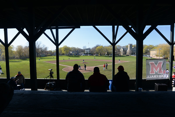 Paul Bilodeau photo<br /> A view from inside the Elliott Roundy Grandstand of the Magicians' baseball game against the Peabody Tanners at Seaside Park.