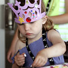 KEN YUSZKUS/Staff photo.   Sage Bendle, 4, of Ipswich, works on creating a pennant during the Sailing Heals Pirates and Princesses Treasure Hunt Adventure held at the Boston Yacht Club in Marblehead.     06/29/16
