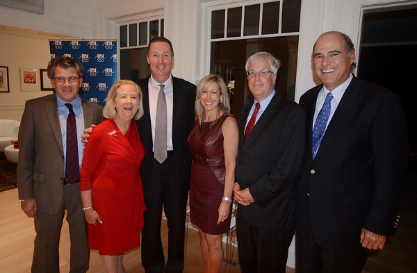Attendees at a Sept. 11 party organized by the Anti-Defamation League of New England are, from left: Robert Trestan, ADL New England Regional Director; Phyllis Sagan of Swampscott, former Chair of the ADL North Shore Advisory Committee; Salem Police Chief Paul Tucker, keynote speaker; Rhonda Gilberg of Marblehead, Chair of the ADL North Shore Advisory Committee; Jeff Robbins of Lexington, ADL New England Regional Board Chair; and Jim Rudolph of Marblehead, Chair of the ADL Board of Overseers.