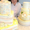 Marblehead:<br /> Ellyn Gimbel  of Just Fabulous Custom Cakes Cupcakes Dessert Tables is with two of her demo cakes.<br /> Photo by Ken Yuszkus, Salem News, Thursday, August 8, 2013.