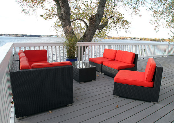 Marblehead: Back porch of 83 Naugus Ave Marblehead. David Le/Marblehead Home & Style Magazine