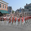 Recreated photo illustration of red coats marching down Washington Street in Marblehead.<br /> Photo by Ken Yuszkus, Wednesday, July 17, 2013.
