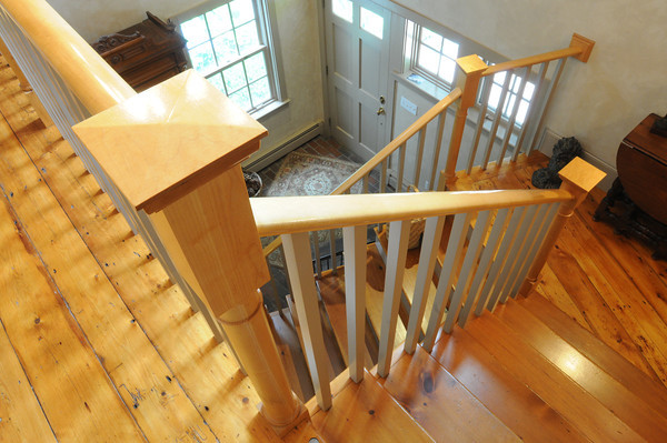 MARBLEHEAD HOME AND STYLE Magazine:<br /> The stairway in the newer part of the home of Artha Gerland at 11 Manataug Trail in Marblehead.<br /> <br /> Photo by Ken Yuszkus / Salem News, Friday, July 12, 2013.