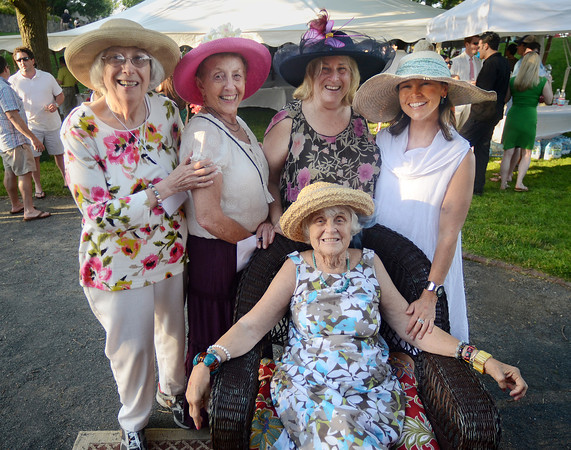 From left, Marilyn Fishman, Gail Gallop, Helen Tieger and Lauren McKenney  stand behind Lauren's mother, Marilyn McKenney, at the reception.