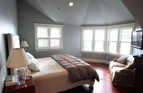 Marblehead: Master Bedroom of 83 Naugus Ave Marblehead. David Le/Marblehead Home & Style Magazine