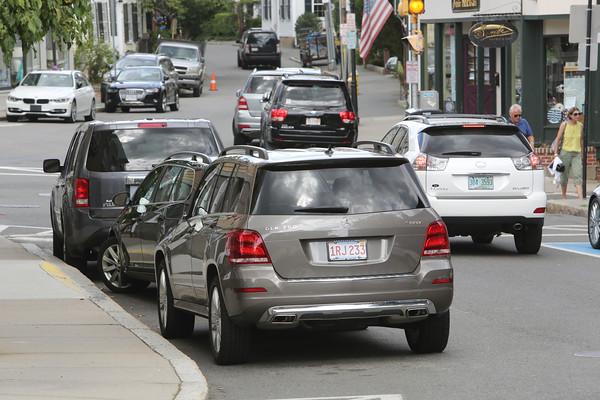 KEN YUSZKUS/Staff photo.  Parking congestion on Washington Street.   8/6/15