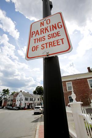 KEN YUSZKUS/Staff photo.  Parking sign on Washington Street.   8/6/15