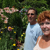 Marblehead:<br /> Pat Ayer and her gardener, Bill Flannery, in her backyard garden.<br /> Photo by Ken Yuszkus/Salem News, Tuesday, July 12, 2011.