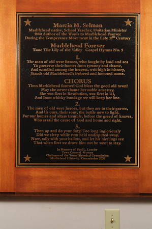 "Marblehead:<br /> The plaque includes the words of the town song, ""Marblehead Forever,"" located in Abbot Hall in Marblehead.<br /> <br /> Photo by Ken Yuszkus/Salem News, Friday,  February 24, 2012."