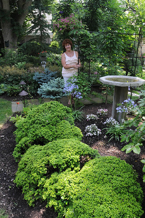 Marblehead:<br /> Pat Ayer in her backyard garden.<br /> Photo by Ken Yuszkus/Salem News, Tuesday, July 12, 2011.