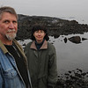 Marblehead:<br /> Mitchell Wondolowski volunteers for the Lobster Conservancy Juvenile Lobster Monitoring Program and counts lobsters on Gerry Island much of the year. He is on the rocky coastline at Gerry Island. <br /> <br /> Denise Fiore, the team leader for the Lobster Conservancy Juvenile Lobster Monitoring Program stands with him in front of Gerry Island..<br /> Photo by Ken Yuszkus/Salem News, Wednesday,  February 15, 2012.