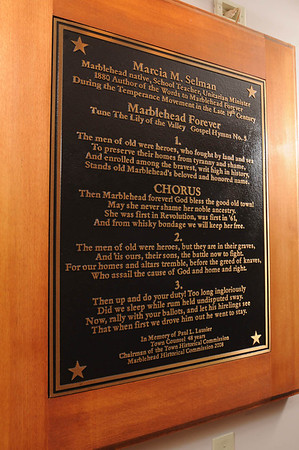 """Marblehead:<br /> The plaque includes the words of the town song, """"Marblehead Forever,"""" located in Abbot Hall in Marblehead.<br /> <br /> Photo by Ken Yuszkus/Salem News, Friday,  February 24, 2012."""