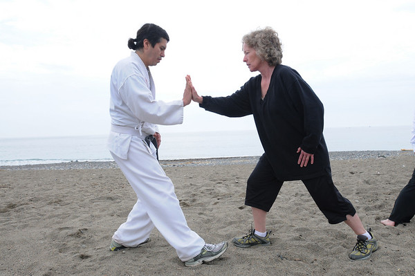 Marblehead:<br /> Arthur Sock, left, and Jane Gaeta work together. Bob Humenn led the group of people in Tai Chi on Devereux Beach.<br /> Photo by Ken Yuszkus/Salem News, Saturday May 9, 2009.