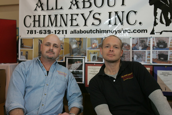Marblehead: Ken Testa, left, and David O'Shea at their All About Chimneys Inc. booth at the 2009 Marblehead Home and Garden Show at the Marblehead Community Center. Photo by Matthew Viglianti/Staff Photographer March 22, 2009.