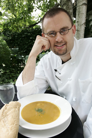 Chef Scott Brankman of Jack-Tar American Tavern creates his specialty soup, butternut squash. Photo by Deborah Parker/August 6, 2009
