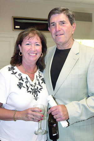 Dee Vigneron of Marblehead and Joel Abramson of Swampscott enjoy a drink during the 6th annual Octoberfest held at Corinthian Yacht Club.