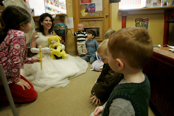 Dr. Corine Barone speaks to  kids in her waiting room, at her Marblehead office. Dr. Barone dresses as the tooth fairy, while visiting schools and speaking at conferences.