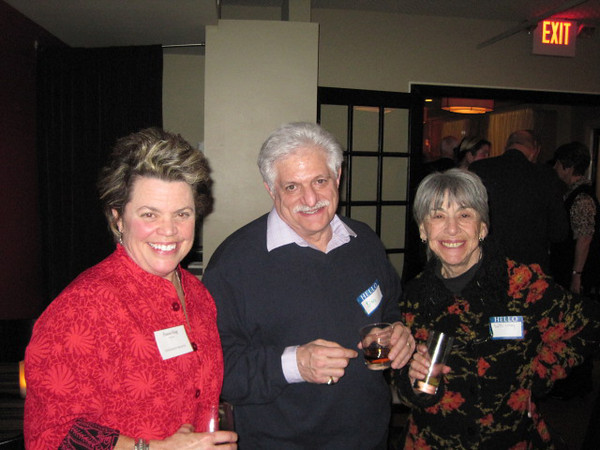 Larry Claflin Jr. photo<br /> From left, Francie King, president of the of the Salem Athenaeum, Don Kaplan and Edith Luray, all of Marblehead, attend a reception for the bicentennial of the organization at 62on Wharf restaurant in Salem.