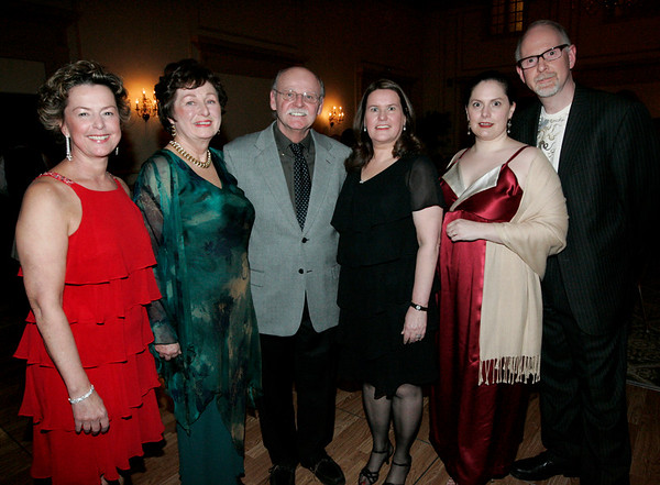 From left Deborah Greel, director of Marblehead Arts Association, attends the Dancing with the Arts fundraiser at the Hawthorne Hotel with Shared Harbor award-winners Patricia Zaido and Gene Arnold, along with Claudia Kaufman, the event's co-chair, and Kristin Solias and Gary LaParl of Salem Arts Association. photo by deborah parker