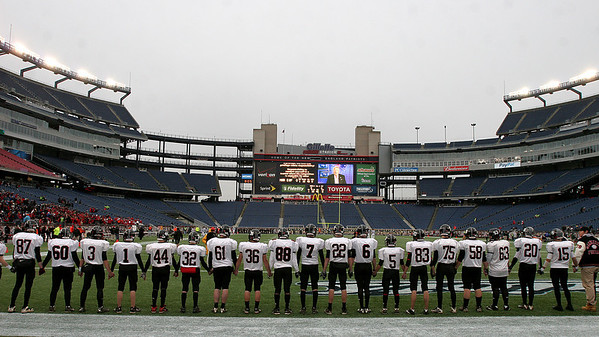 Foxboro: Marblehead High players prepare to take the field in  Div III Superbowl at Gillette Stadium against Bishop Feehan. Photo by Mark Lorenz/Salem News