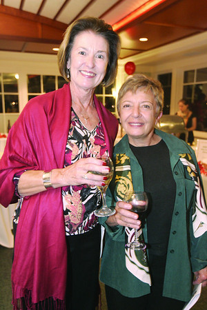 Lyn Freeman, left, ad Joanna D'Alessandro, both of Marblehead enjoy a drink during the 6th annual Octoberfest held at Corinthian Yacht Club.