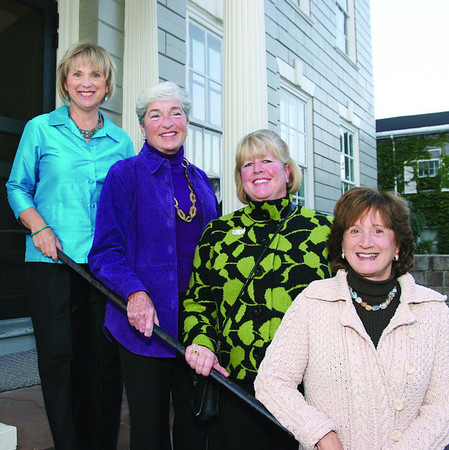 City Desk, Marblehead:Ê The event committee on the front steps of the mansion, at left, Ginny von Ruden, chairperson, Dianne Barbour, Sharon Russell and Helaine R. Hazlett, all from Marblehead, at the benefit for the Marblehead Museum and Historical Society, Thursday, at the Jeremiah Lee Mansion on Washington Street.Ê Photo by Frank J. Leone, Jr.