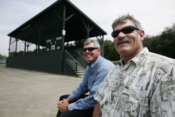 Derek Norcross and town Veterans Agent David Rodgers are trying to get Seaside Park and the Elliott Roundy Grandstand placed on the national register of historic places. Photo by Deborah Parker/July 29, 2009