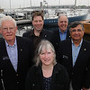 Marblehead:<br /> Left to right, Dan Shea, Dan Himes, current commander of the Marblehead Sail and Power Squadron, Gin Osman, Stephen Jerome, John Bedrossian, standing at the State Street Landing. Except for Dan Himes all the others are past commanders,<br /> Photo by Ken Yuszkus/Salem News, Monday May 4, 2009.
