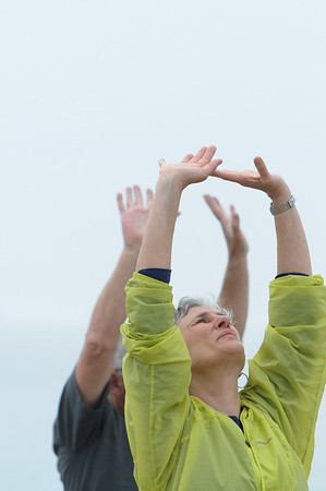 Marblehead:<br /> Close up of Maren Falck. Bob Humenn leads the group of people in Tai Chi on Devereux Beach.<br /> Photo by Ken Yuszkus/Salem News, Saturday May 9, 2009.