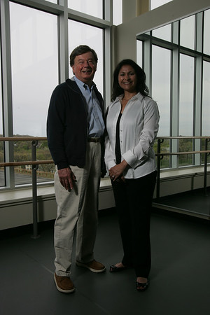 Henri and Belinda Termeer of Marblehead have donated money to help establish a Boston Ballet school at the new Lynch/van Otterloo YMCA on Leggs Hill Road in Marblehead. Here, they pose in the grand studio at the Y. Photo by Matthew Viglianti/Staff Photographer Sunday, May  3, 2009.