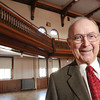 Marblehead:<br /> Retired Judge Joseph Dever stands in the hall in Abbot Hall where he performed as an actor.<br /> Photo by Ken Yuszkus/Salem News, Friday,  January 9, 2009.